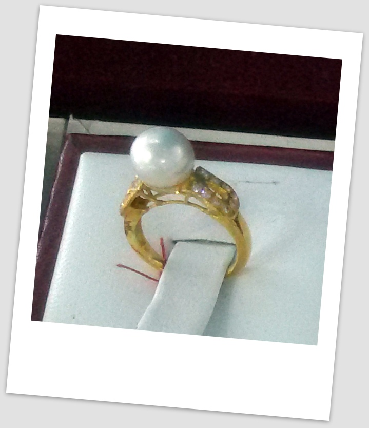 handmade gold ring with south sea pearl ctr 055 harga