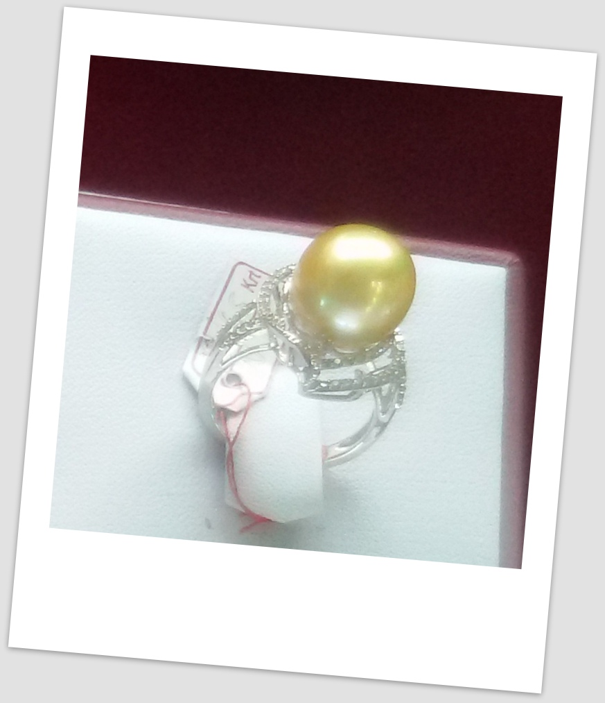 handmade gold ring with south sea pearl ctr 116 harga