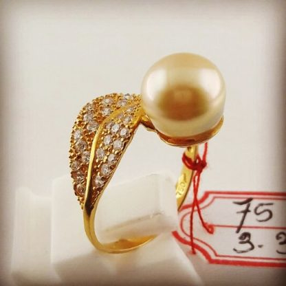 Best Cheap Handmade Gold Pearl Ring With Golden South Sea Pearls (CEZ-10)