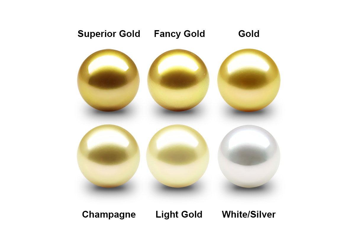 Macam-macam warna mutiara air laut asli dari warna mutaira emas / gold ke warna mutiara putih